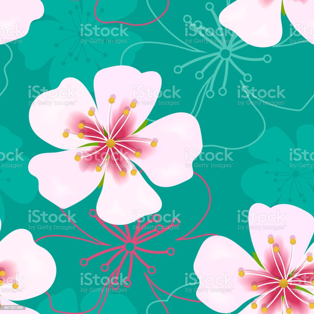 Wallpaper Simple Cute Seamless Pattern Vintage Pink Flowers On Green