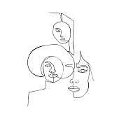 Wallpaper with women. One continuous line drawing of women. Minimalism art.