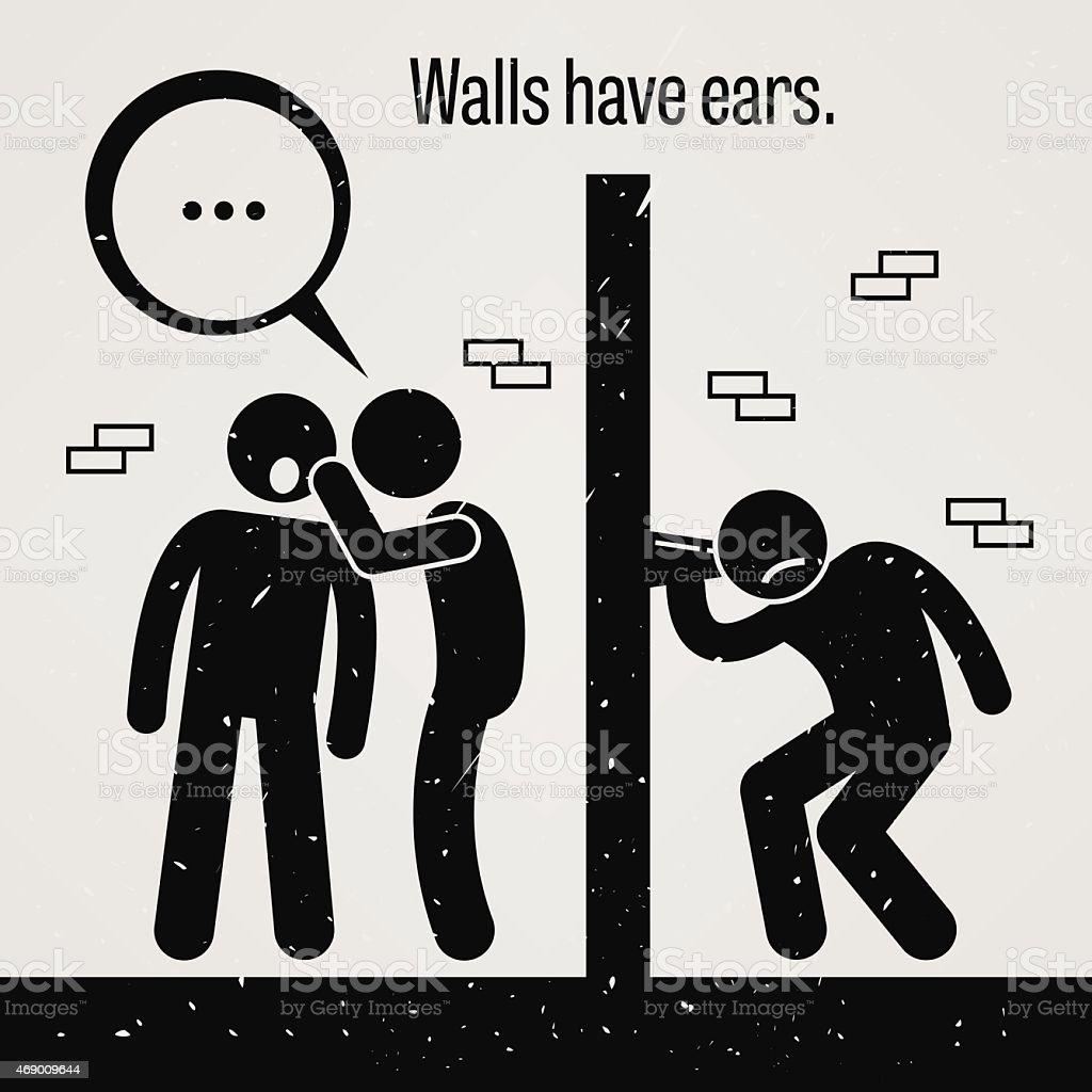 Walls have Ears vector art illustration