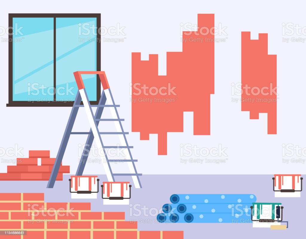 Walls Painting Home House Repair Concept Vector Flat Cartoon Graphic