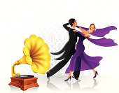 Waltz dancers with gramophone. High Resolution JPG and Illustrator 0.8 EPS included.