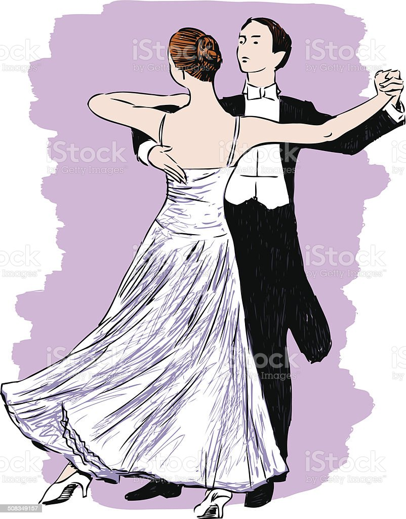 Waltzing couple vector art illustration
