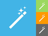 Wand  Flat Icon on Blue Background. The icon is depicted on Blue Background. There are three more background color variations included in this file. The icon is rendered in white color and the background is blue.