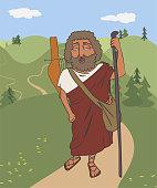 wandering ancient greek bard Homer cartoon