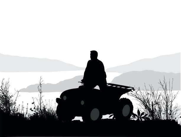 Wandering But Not Lost Silhouette vector illustration of quadbike stock illustrations
