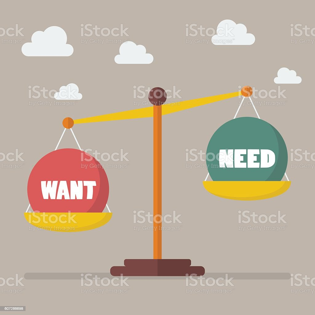 Want and need balance on the scale vector art illustration