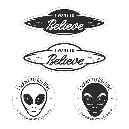 I want to believe patches set. Vector vintage illustration.
