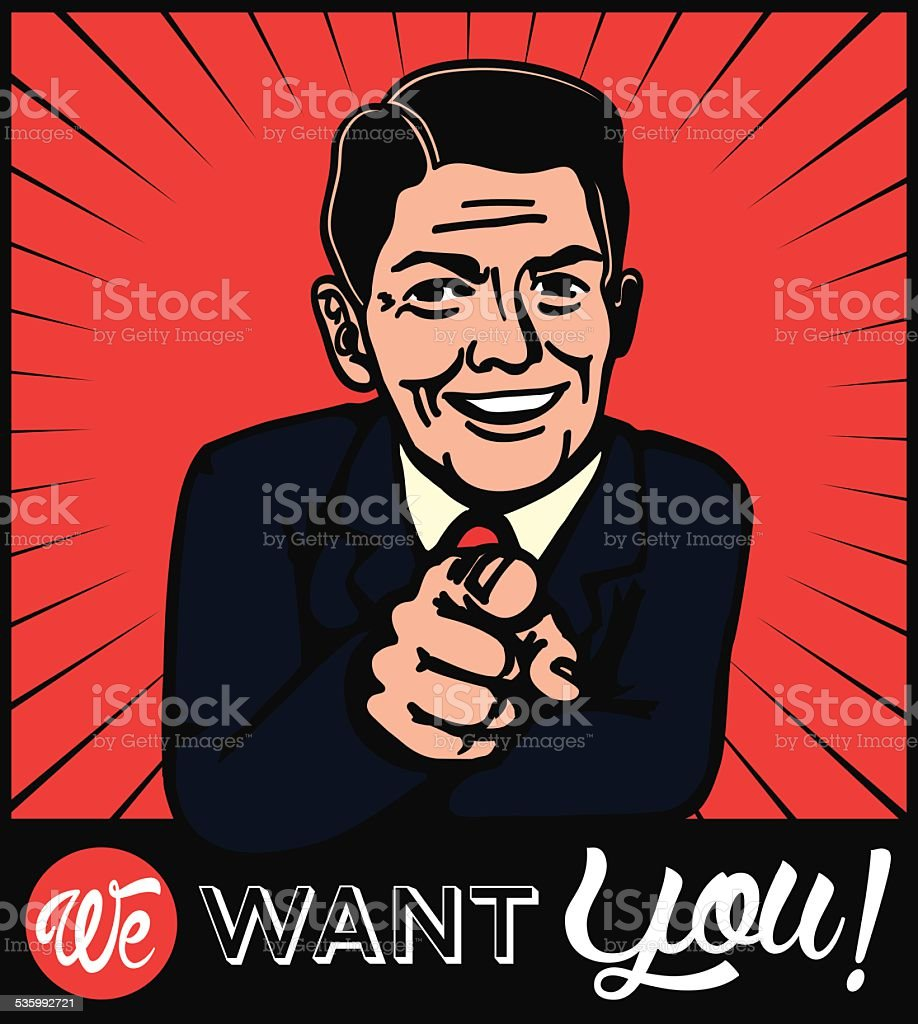 I want you! Retro businessman choosing candidate with pointing finger vector art illustration