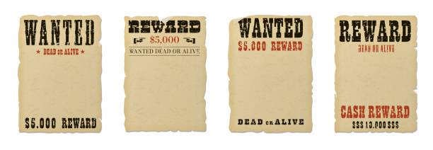 gesucht tot oder lebendig leere postervorlage mit grunge strukturierte typografie und gerissen vintage verblasst gelbes papier isoliert auf weißem hintergrund. - belohnungstafel stock-grafiken, -clipart, -cartoons und -symbole