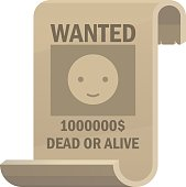 Wanted dead or alive icon. Vintage western poster with cowboy smiley face. Vector illustration
