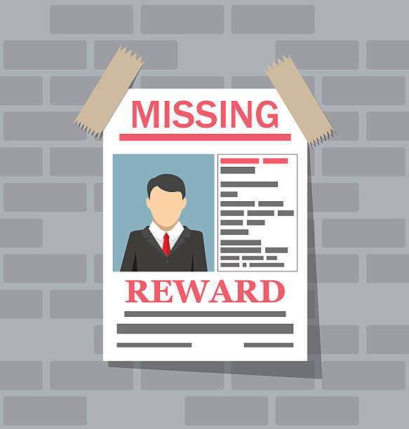 wanted man paper poster. missing announce - lost stock illustrations
