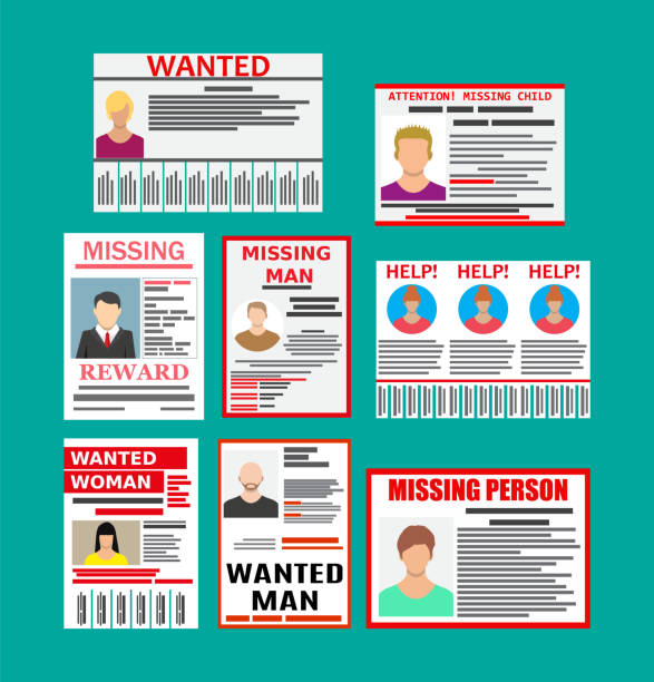Wanted person paper poster. Missing announce Wanted person paper poster. Missing announce. Information tear off papers. Search for lost person in big city. Vector illustration in flat style lost stock illustrations