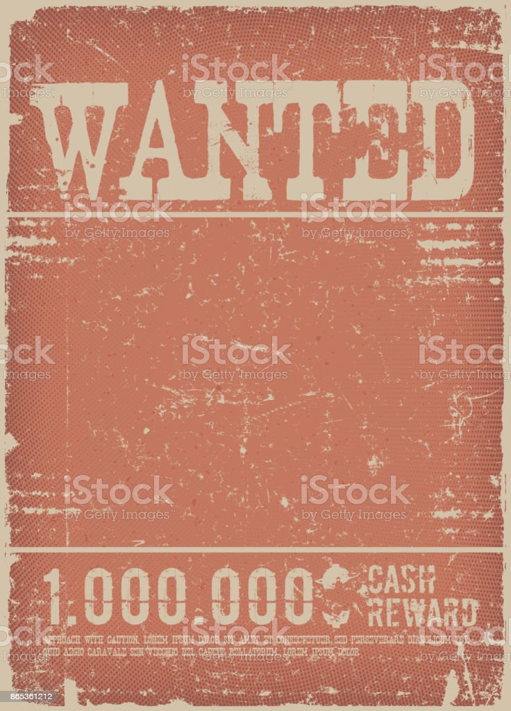 Wanted Poster On Red Grunge Background vector art illustration
