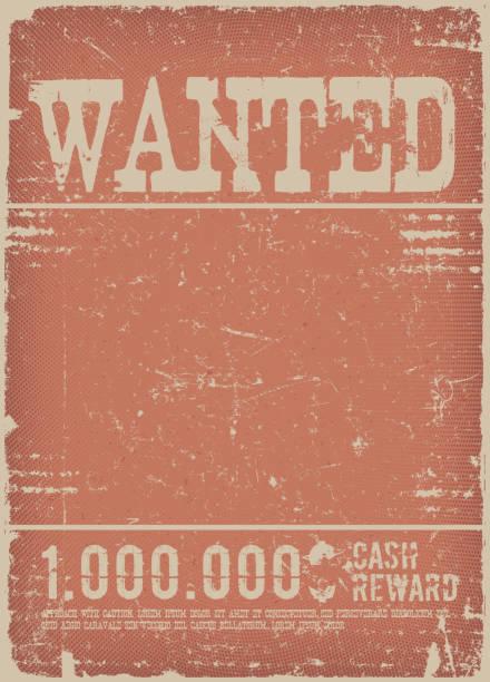 bildbanksillustrationer, clip art samt tecknat material och ikoner med wanted affisch på röda grunge bakgrund - dirty money