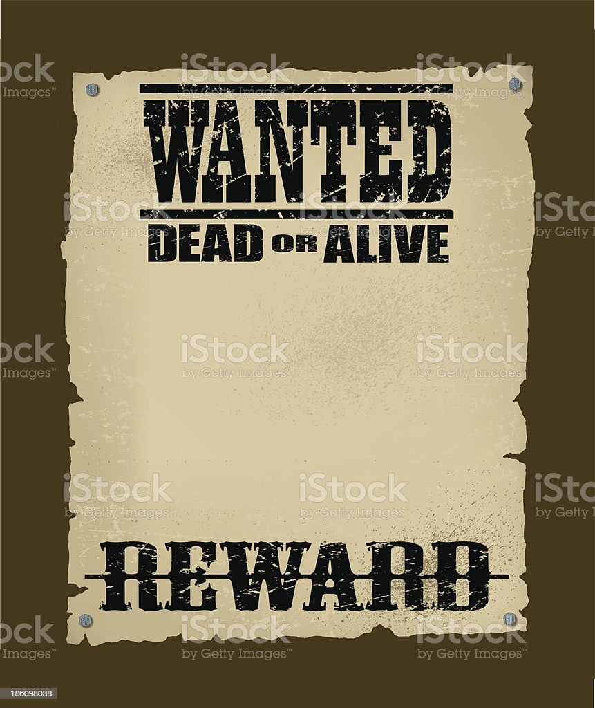 Wanted Poster - Reward royalty-free stock vector art