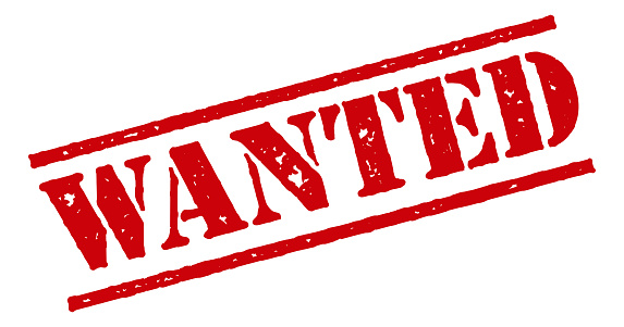 Wanted Red Rubber Stamp Icon on Transparent Background