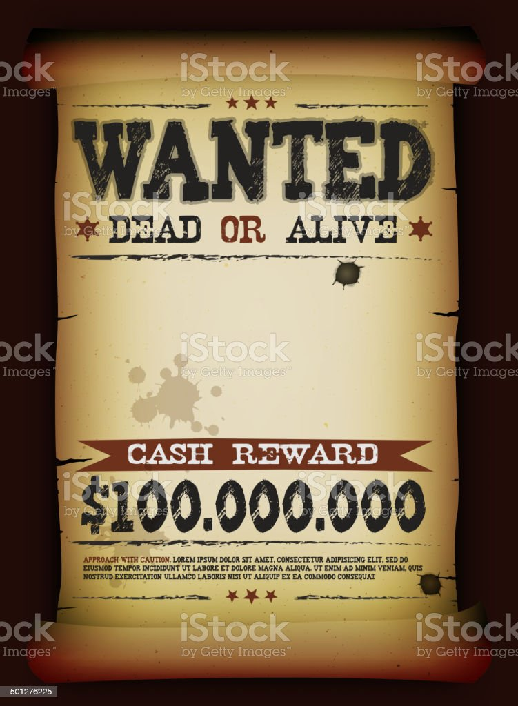 Wanted Vintage Poster On Parchment vector art illustration