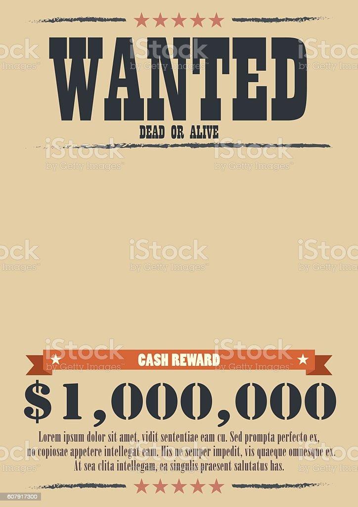 Wanted Vintage Poster vector art illustration