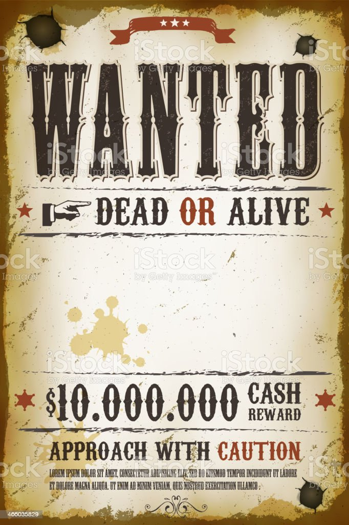 Wanted Vintage Western Poster Stock Vector Art & More Images of ...