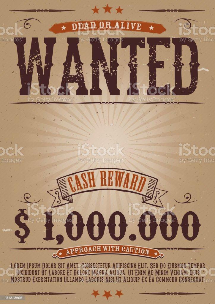 Wanted Vintage Western Poster vector art illustration