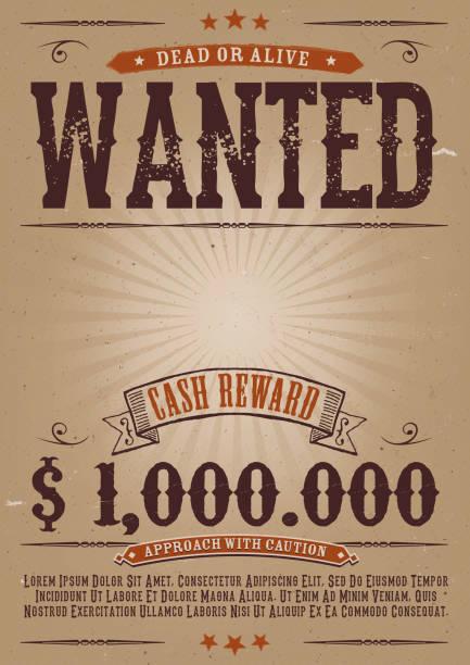 bildbanksillustrationer, clip art samt tecknat material och ikoner med wanted vintage western poster - dirty money