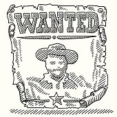 Wanted Wild West Old Poster Drawing