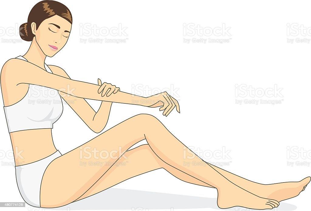Wapplying moisturizer cream on arm vector art illustration