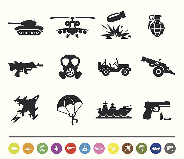 bildbanksillustrationer, clip art samt tecknat material och ikoner med war and army icons | siprocon collection - krig