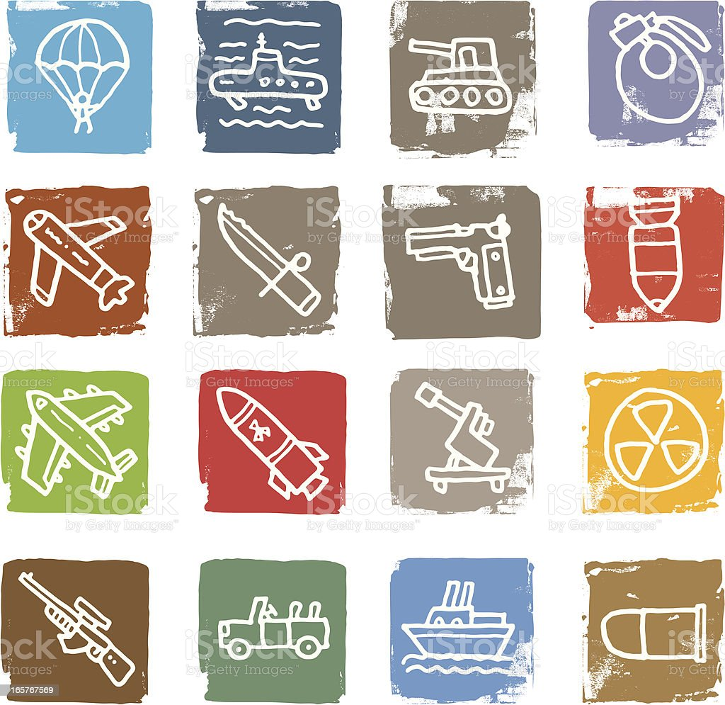 War and weapon block icon set royalty-free stock vector art