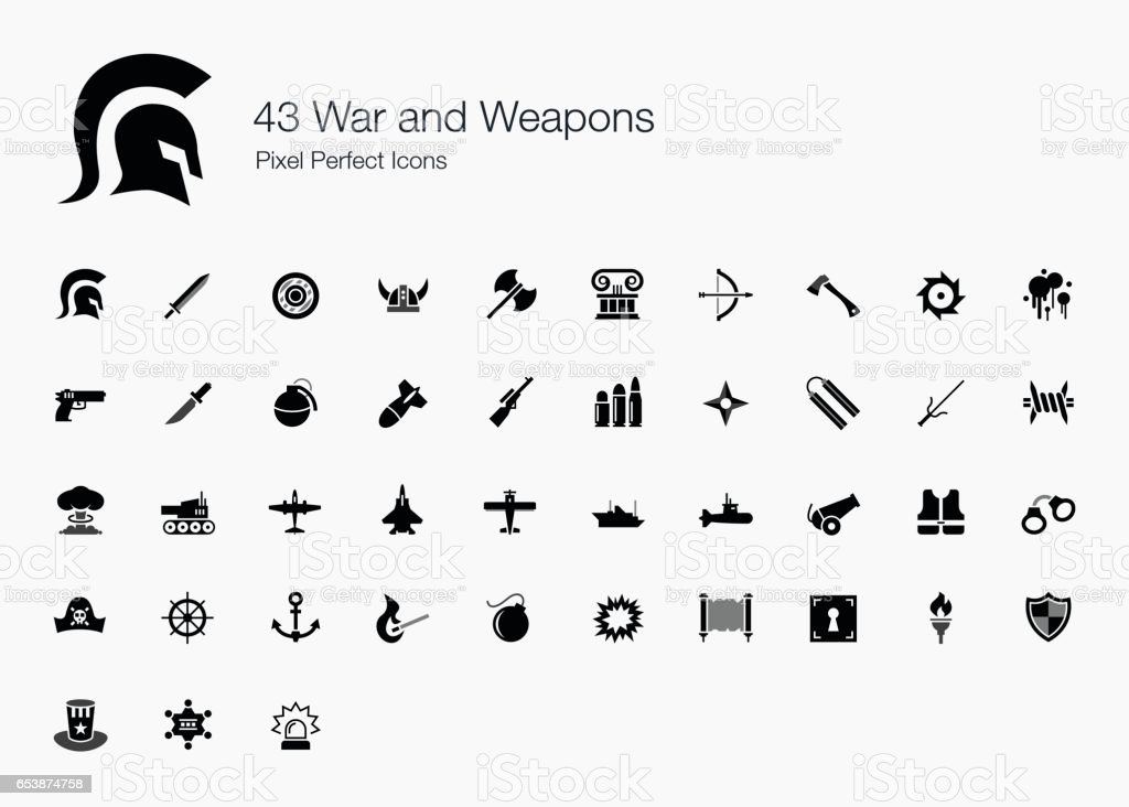 43 War and Weapons Pixel Perfect Icons vector art illustration