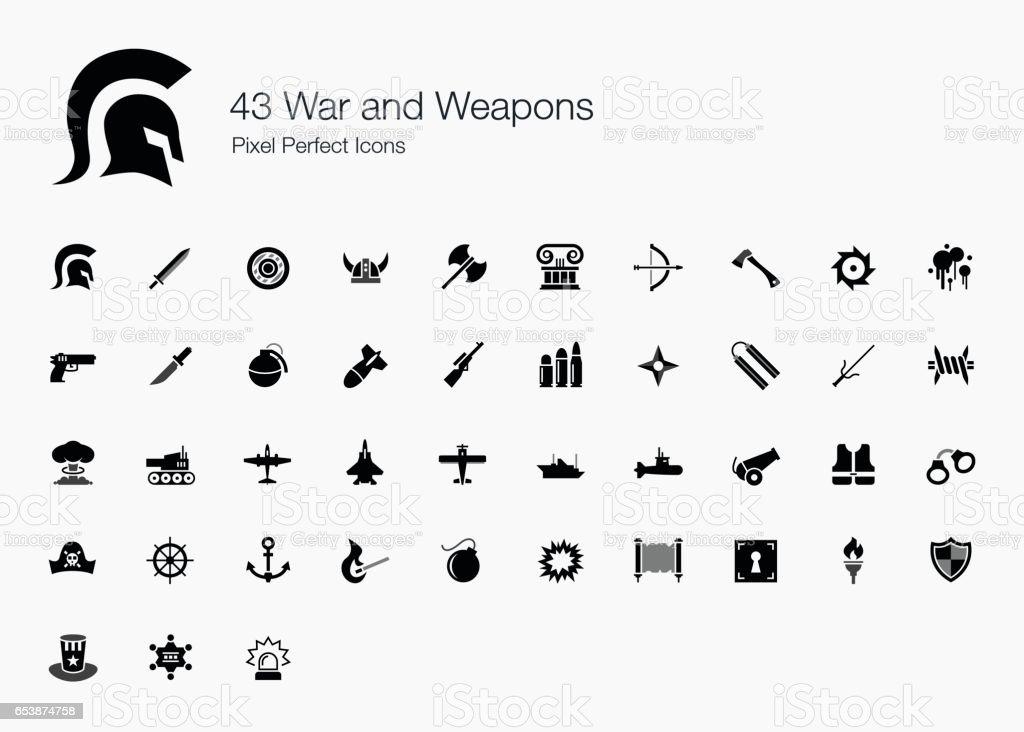 43 guerra e armas Pixel ícones perfeitos - ilustração de arte em vetor