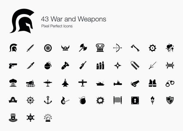 43 War and Weapons Pixel Perfect Icons We love peace. We don't want war - but we are still creating an icon set for it because you need it. Our war icons range from ancient weapons to modern one. weapon stock illustrations