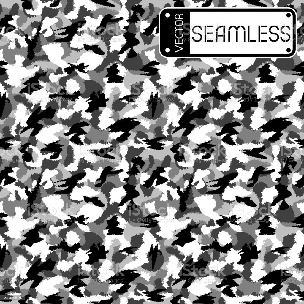 War black and white urban camouflage seamless vector pattern. Can be used for wallpaper, pattern fills, web page background, surface textures. Vector illustration vector art illustration