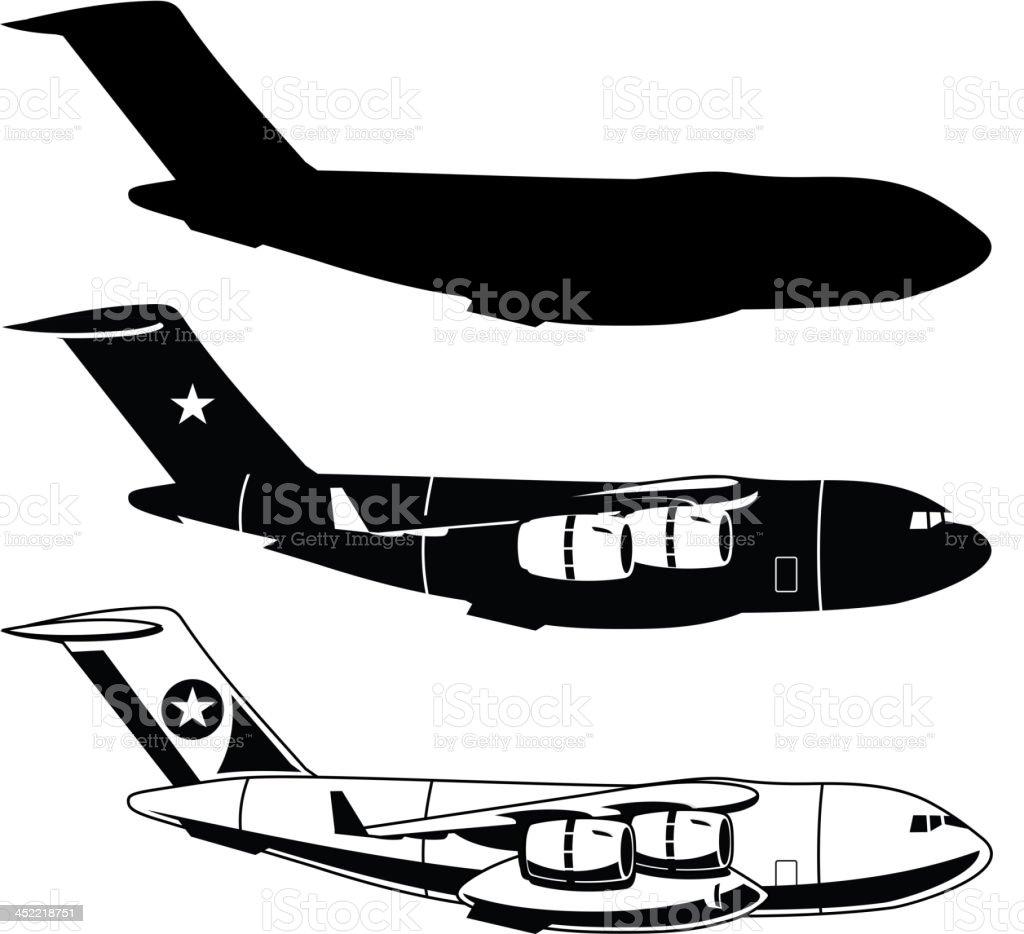 War Cargo Military Airplane royalty-free stock vector art