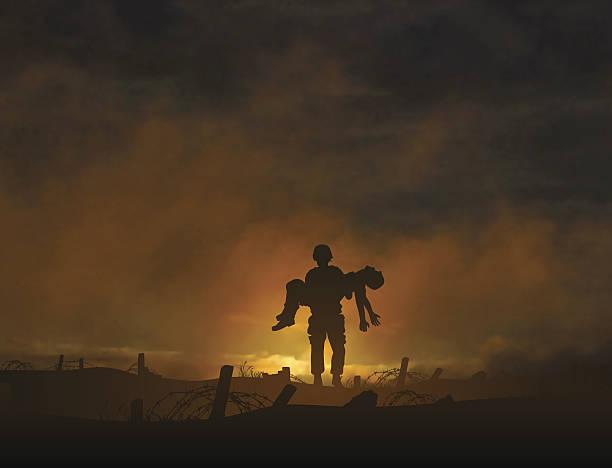 illustrazioni stock, clip art, cartoni animati e icone di tendenza di vittime di guerra - portare