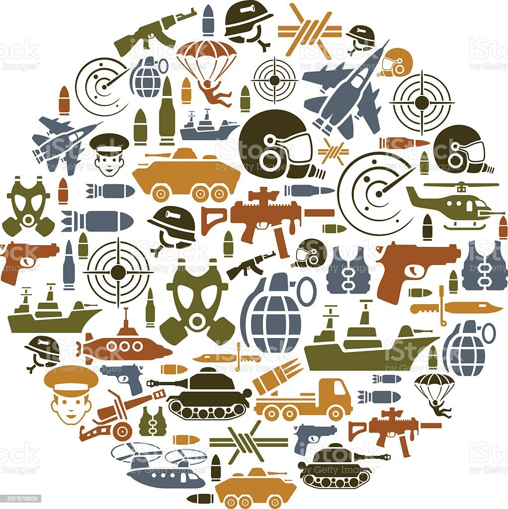 War Collage vector art illustration