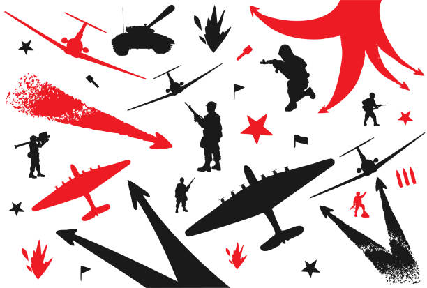 war conflict in the retro style. military set - world war ii stock illustrations, clip art, cartoons, & icons