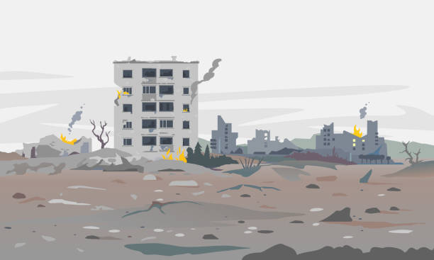 War destroyed city landscape background Destroyed city concept landscape background illustration, building between the ruins and concrete, war destruction panorama, city quarter after earthquake demolished stock illustrations