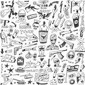 war - doodles set