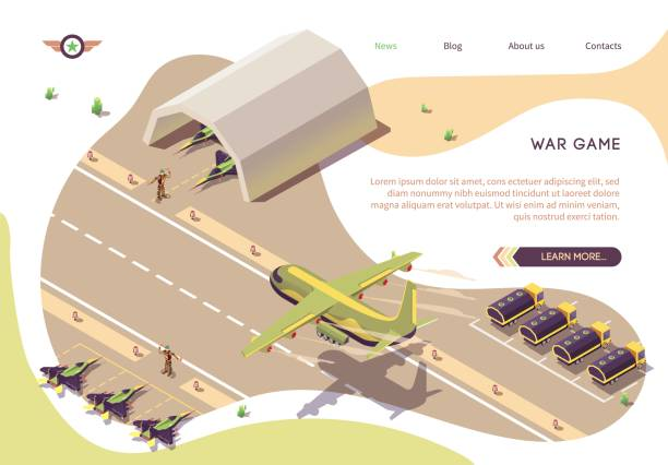 War Game Isometric Banner with Military Airfield War Game Isometric Banner with Military Airfield, Airport or Airbase. Vector Jet Fighters, Armored Vehicles or Fuel Tanks Trucks, Soldiers. Cargo Airplane Landing on Runway. Hangar and Parking Guarded airport drawings stock illustrations