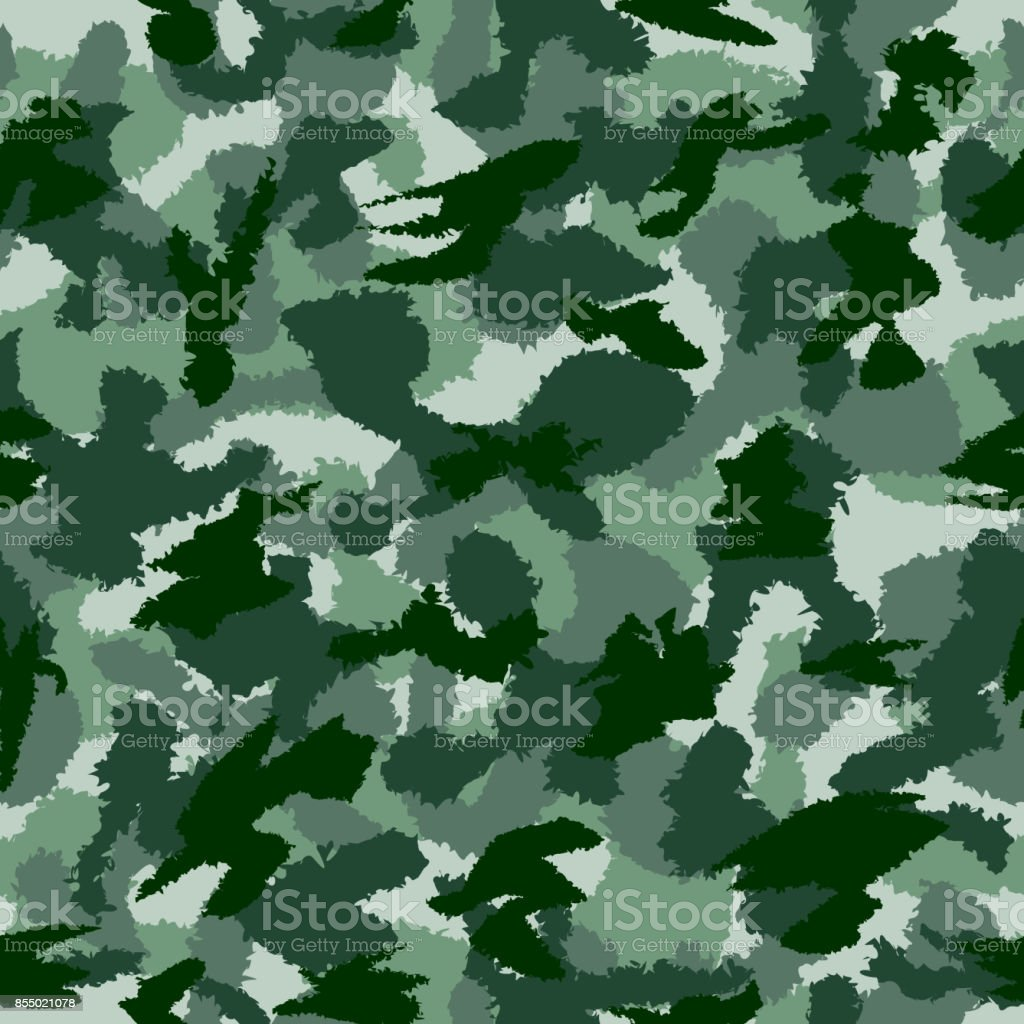 War Green Forest Camouflage Seamless Vector Pattern Can Be