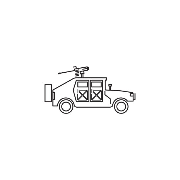 war humvee military icon vector art illustration