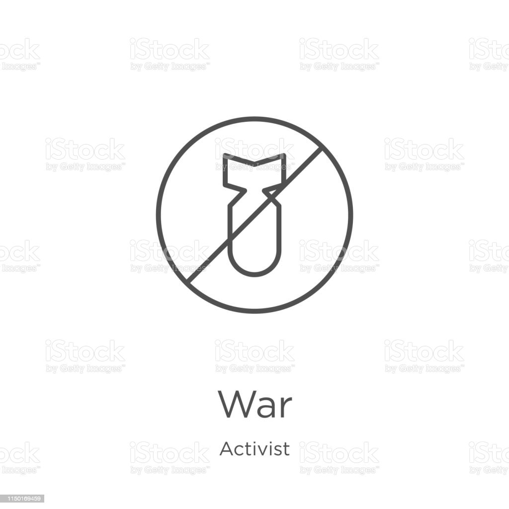 war icon vector from activist collection. Thin line war outline icon vector illustration. Outline, thin line war icon for website design and mobile, app development