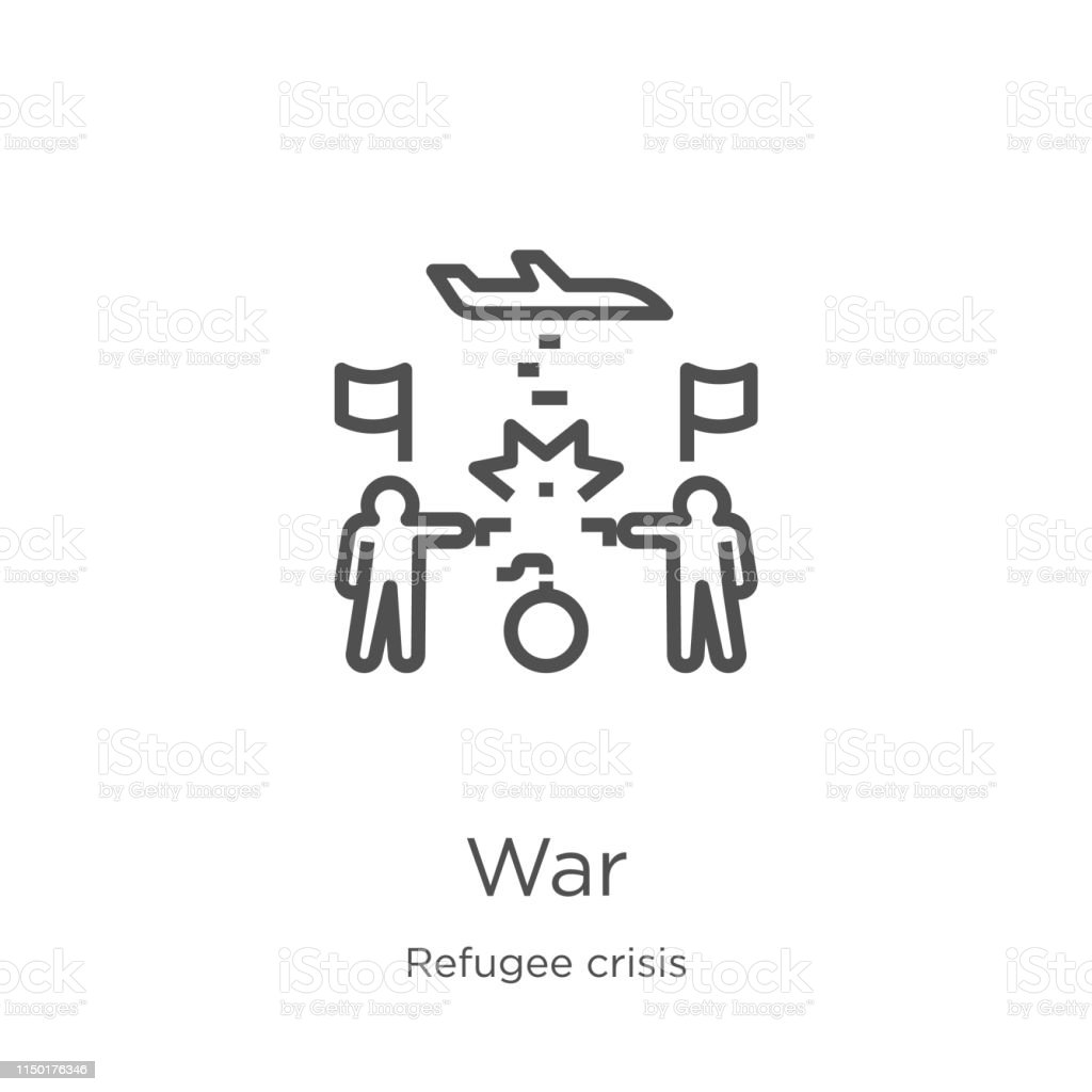 war icon vector from refugee crisis collection. Thin line war outline icon vector illustration. Outline, thin line war icon for website design and mobile, app development