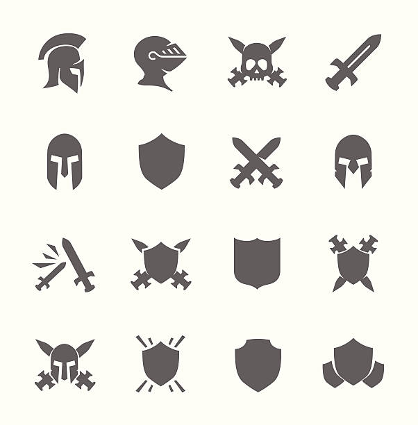 전쟁 아이콘 - sword stock illustrations