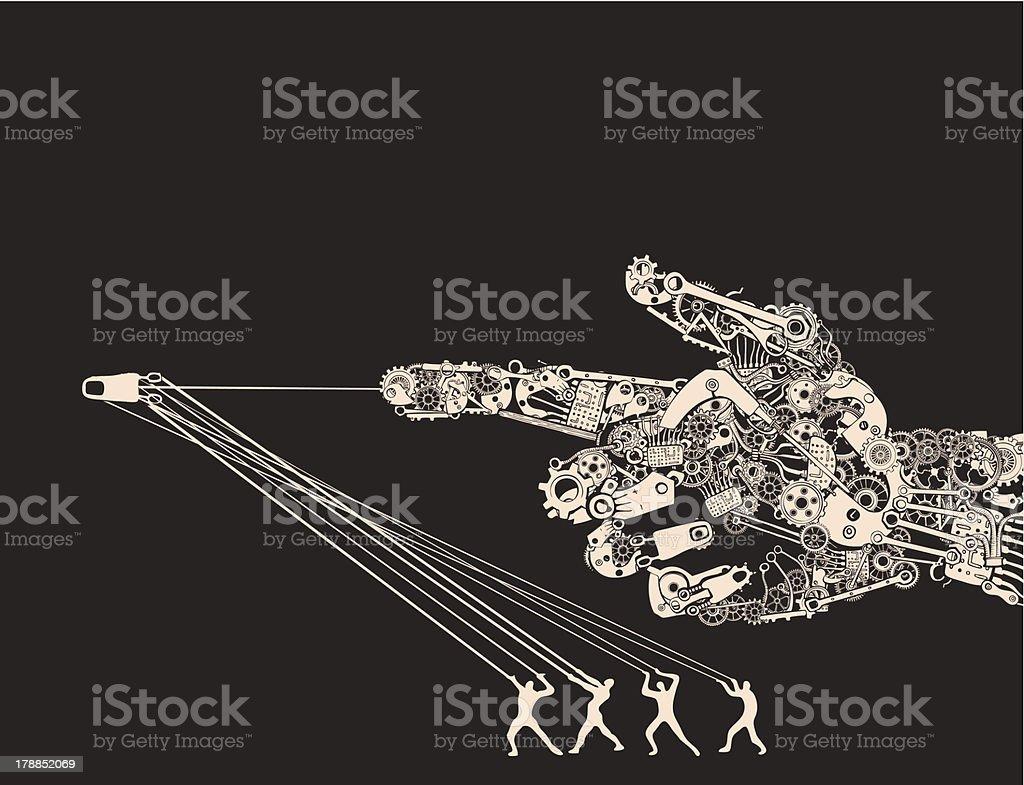War instruments are Man Made Machines. Handgun Hand Gesture. vector art illustration