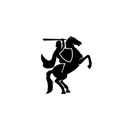 A war knight soldier carry a sword dressed in armor goes to war with his horse logo icon design flat vector template illustration silhouette white background