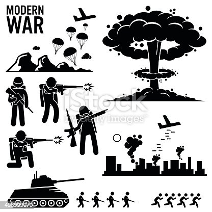 Set of human pictogram representing the modern world war. Army soldier is parachuting down from aircraft. Bomber is bombing the city. Nuclear weapon explosion is used, together with infantry and tank.