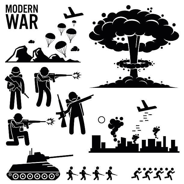 war modern warfare nuclear bomb soldier tank attack cliparts - army soldier stock illustrations, clip art, cartoons, & icons