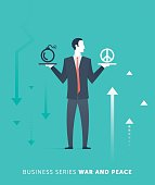 Businessman Character Choosing an Option Vector Illustration.